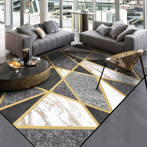 Nordic Style Geometric Gold Grey Carpet Large Size Living Room Bedroom Tea Table Rugs and Carpets Rectangular Antiskid Floor Mat