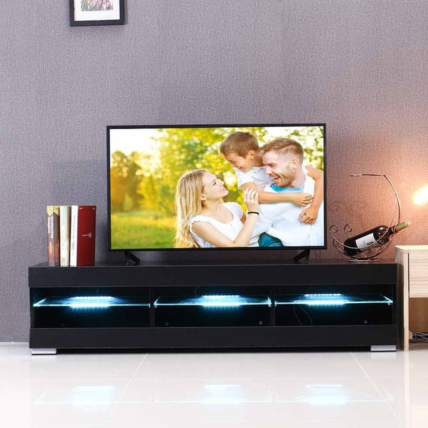 57'' LED Light High Gloss TV Unit Cabinet Stand White Black Wood Table  Living Room Meuble TV Bedroom Furniture Desk US Shipping