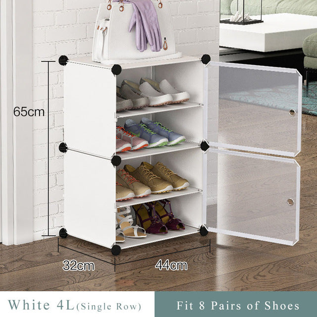 DIY Shoe Organizer Shoes Rack Hallway Space Saving Steel Tube Frame Multiuse Modular Closet Plastic Cabinet with Doors