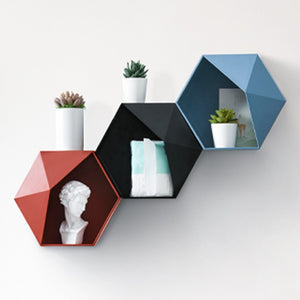 Decorative Wall Mounted Floating Hexagon Shelf Punch-Free Installation