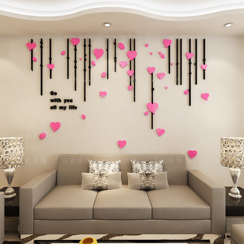 3-D Heart Shaped Leaves Wall Decal Set