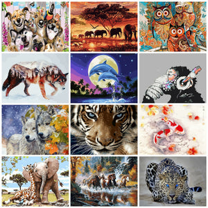 AZQSD Animals Oil Painting By Numbers For Adults Paints By Number Canvas Painting Kits 50x40cm DIY Gift Home Decor