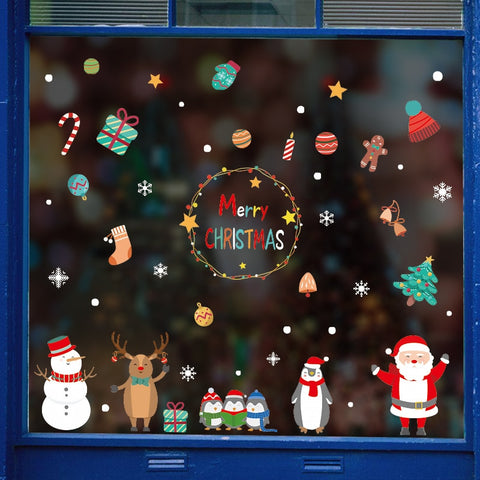Christmas Decor Cartoon Wall Stickers