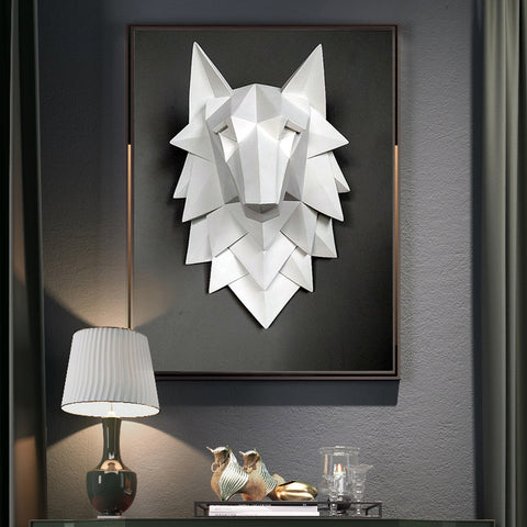 Handmade 3D Abstract Wolf Head Sculpture Modern Geometrical Design
