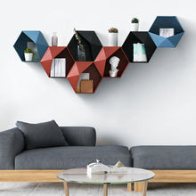 Load image into Gallery viewer, Decorative Wall Mounted Floating Hexagon Shelf Punch-Free Installation