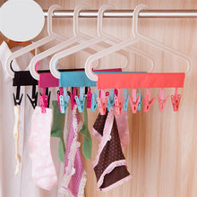 Load image into Gallery viewer, Portable Drying Hanger Travel Clothes Hanger With Clothespin Non-Slip Plastic Towel Socks Hanger for Travel (Random Color)