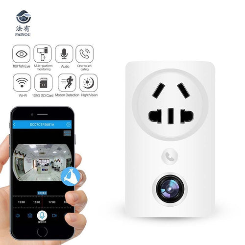 Wifi Home WIFI Plug Camera Panoramic Socket  CCTV Surveillance Cam Child Monitor Support Remotely Watching Motion Detection IR