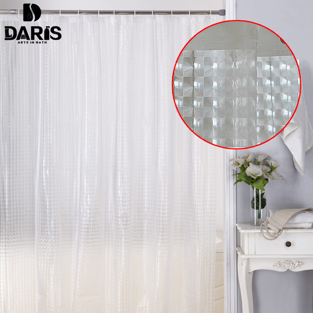 SDARISB Plastic PEVA 3d Waterproof Shower Curtain Transparent White Clear Bathroom Curtain Luxury Bath Curtain With 12pcs Hooks