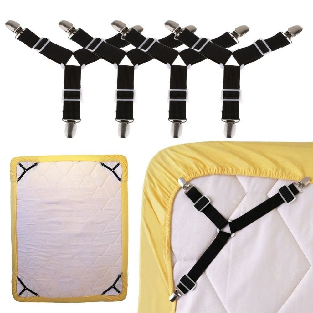 Hot Sale 4PCS Bed Sheet Holder Clip Mattress Blankets Grippers Cover Fasteners with Metal Clips TSLM1