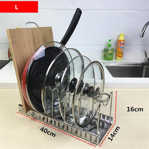 Adjustable Stainless Steel 304 Kitchen Storage Rack Organizer Cutting Board Pan Pot Lid Drying Rack Hoder cocina organizador