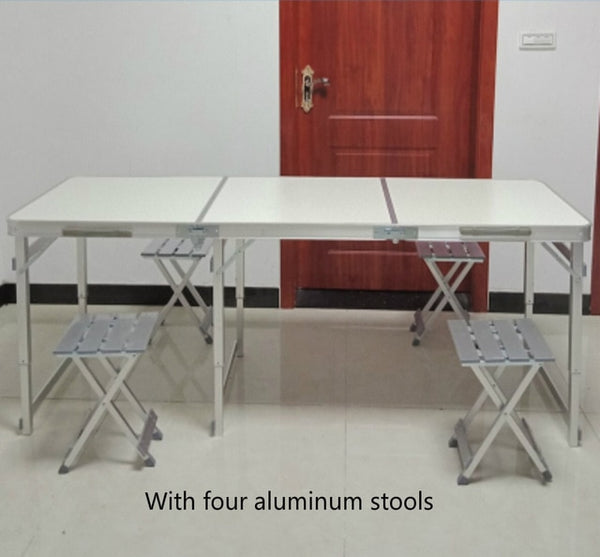 Lengthen Outdoor Portable Table Multifunction Camping Barbecue Desk with Stool Foldable Lifted Dining Table and Chair Set Steady