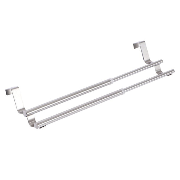 ORZ Kitchen Towel Holder Expandable Bathroom Towel Bar Stainless Steel Storage Hanger Rack Door Hook Shelf Bathroom Organizer