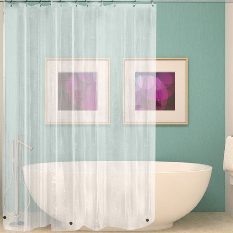 Waterproof Transparent Shower Curtain  White Clear Bathroom Curtain Luxury Bath Curtain With Hooks Plastic Polyester