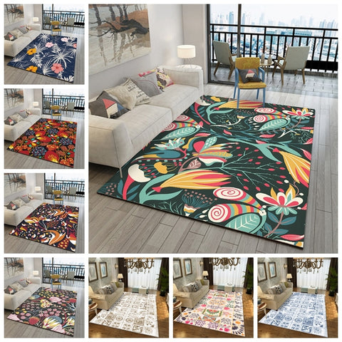European Area Rug For Living Room Bedroom Anti-Slip Carpets Geometric Flowers Pattern Bedside Mats Sofa Table Washable Floor Mat