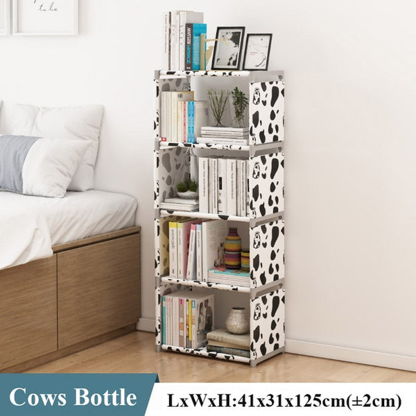 Multilayer Simple Assembled Bookshelf Corner Closet Sundries Book Storage Organizer Easy Moving Shelf Bookcase Kids Home Decor