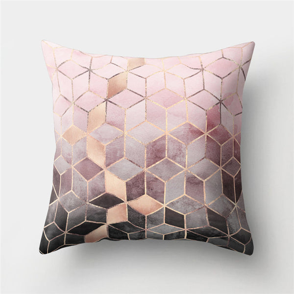 45x45cm Christmas Geometric Printed Peach Skin Polyester Throw Pillow Cases Cushion Case Textile Home Living Room Bedroom