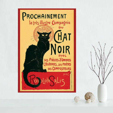 High Quality Custom Le Chat Noir Canvas Painting Poster Cloth Silk Fabric Wall Art Poster for Fashion Home Decor
