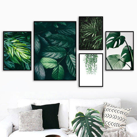 Nature Tropical Palm Leaf Monstera Wall Art Canvas Painting Nordic Posters And Prints Wall Pictures For Living Room Home Decor