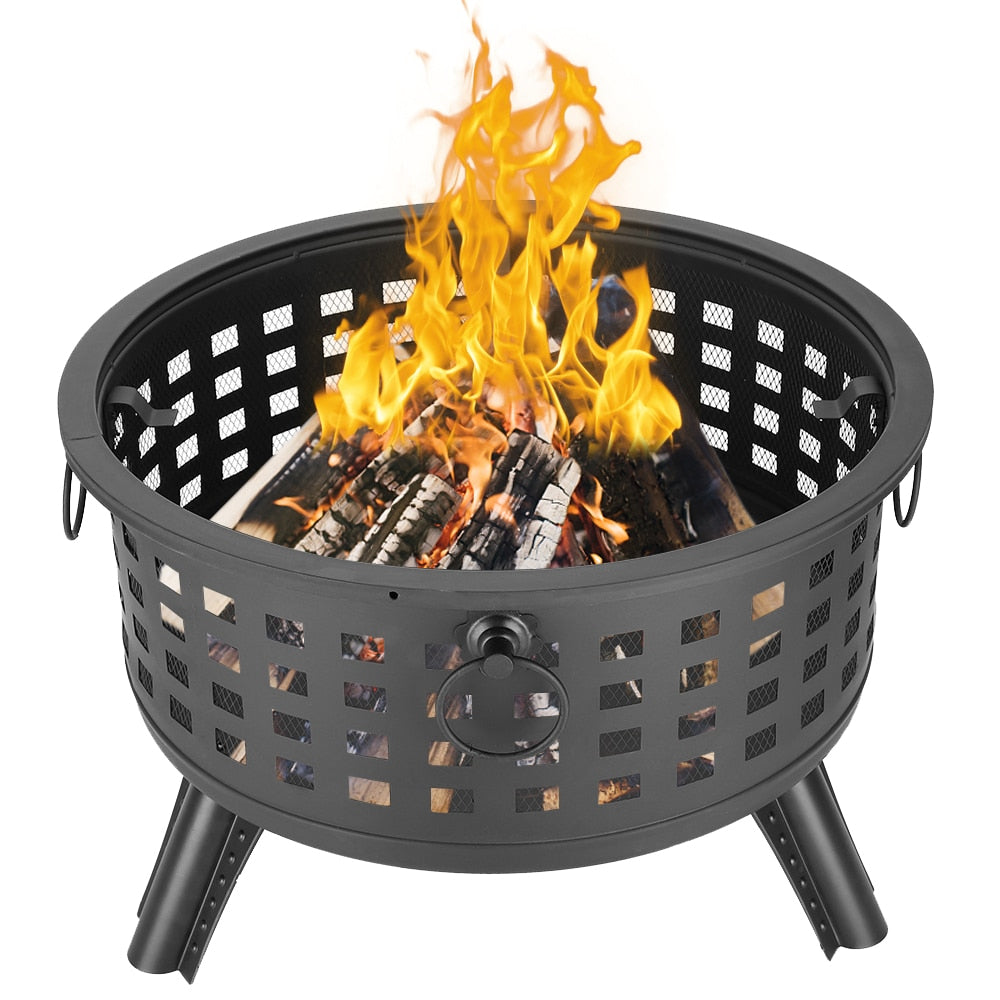 "26"" Outdoor Brazier Fireplace Fire Pit Burner for Camping Hiking Round Fire Bowl Portable Wood Burning Patio Firepit - US Stock"
