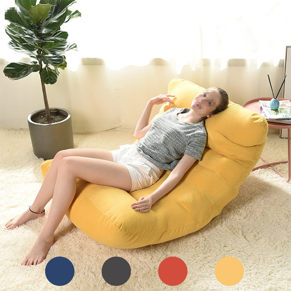 No Filling Bean Bag Sofa Cover Chairs Lazy Bed BeanBag Sofas Cotton Cloth Lounger Seat Pouf Puff Couch Tatami Home Room Yellow