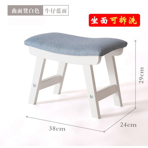 Solid wood stool home door change shoes stool Nordic fabric soft surface ottoman living room coffee table stool mx6011008