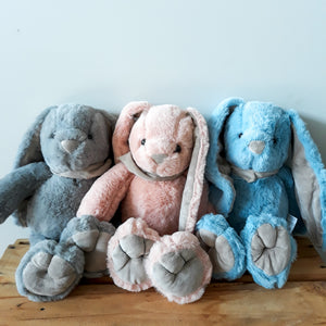 Lop Eared Rabbits are a cute gift for the arrival of a new baby. They come in Grey, Pink or Blue