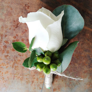 Buttonhole- White rose with elements
