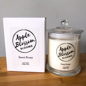 Sweet Peony Apple Blossom Blooms Luxe Soy Candle
