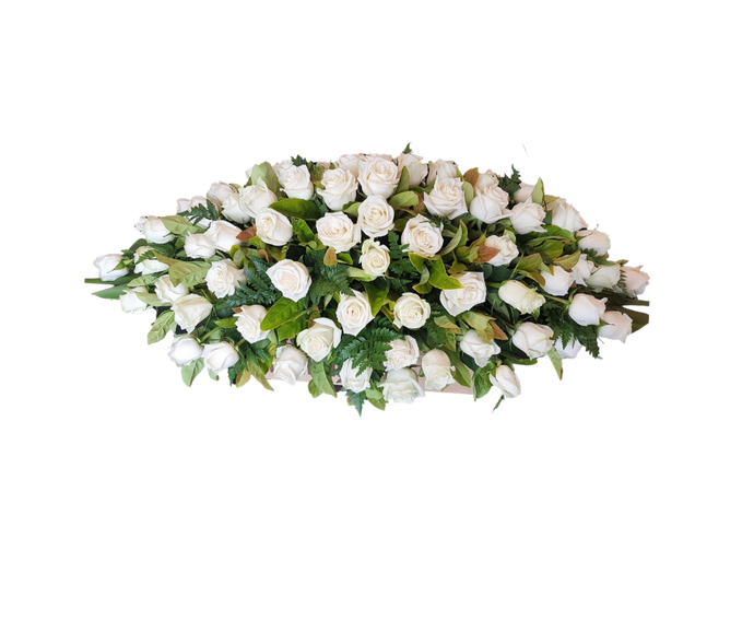Casket Cover White rose