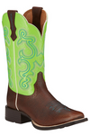 Ariat Wms Quickdraw Scratched Chesnut/Bright Lime
