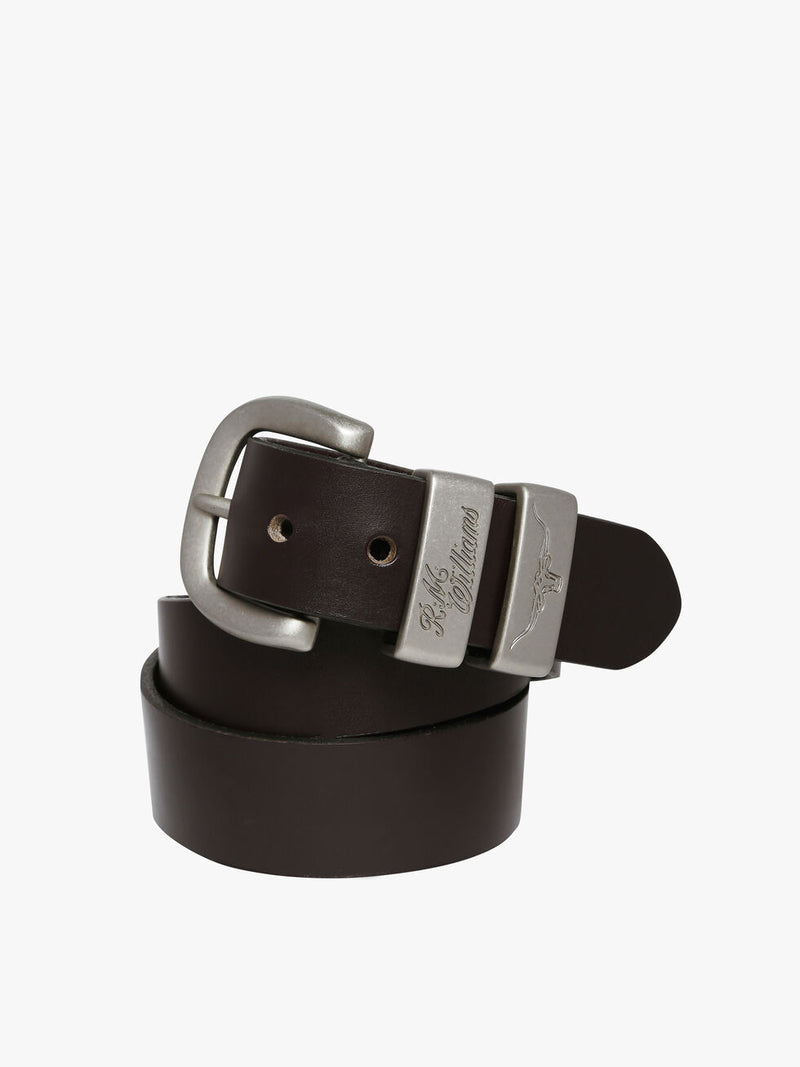 RM Williams 1 1/2 inch Solid Hide Work Belt - Silver RMW Logo