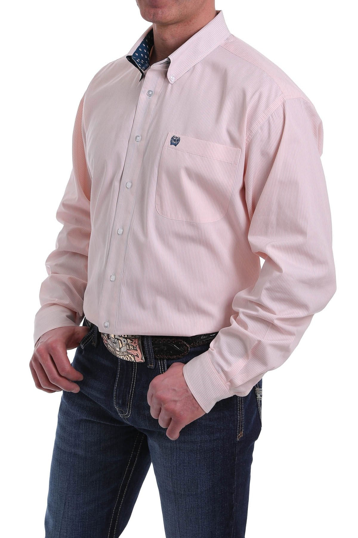 Cinch Mens Peach Pin Stripe Shirt