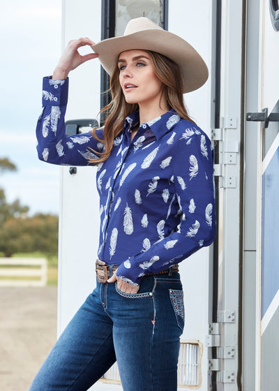 Pure Western Ladies Feather Print Shirt