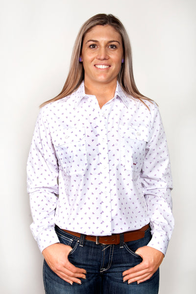 Just Country Womens Abbey Full Button Print Work Shirts