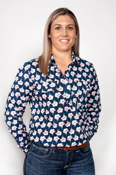 Just Country Womens Abbey Full Button Print Workshirt