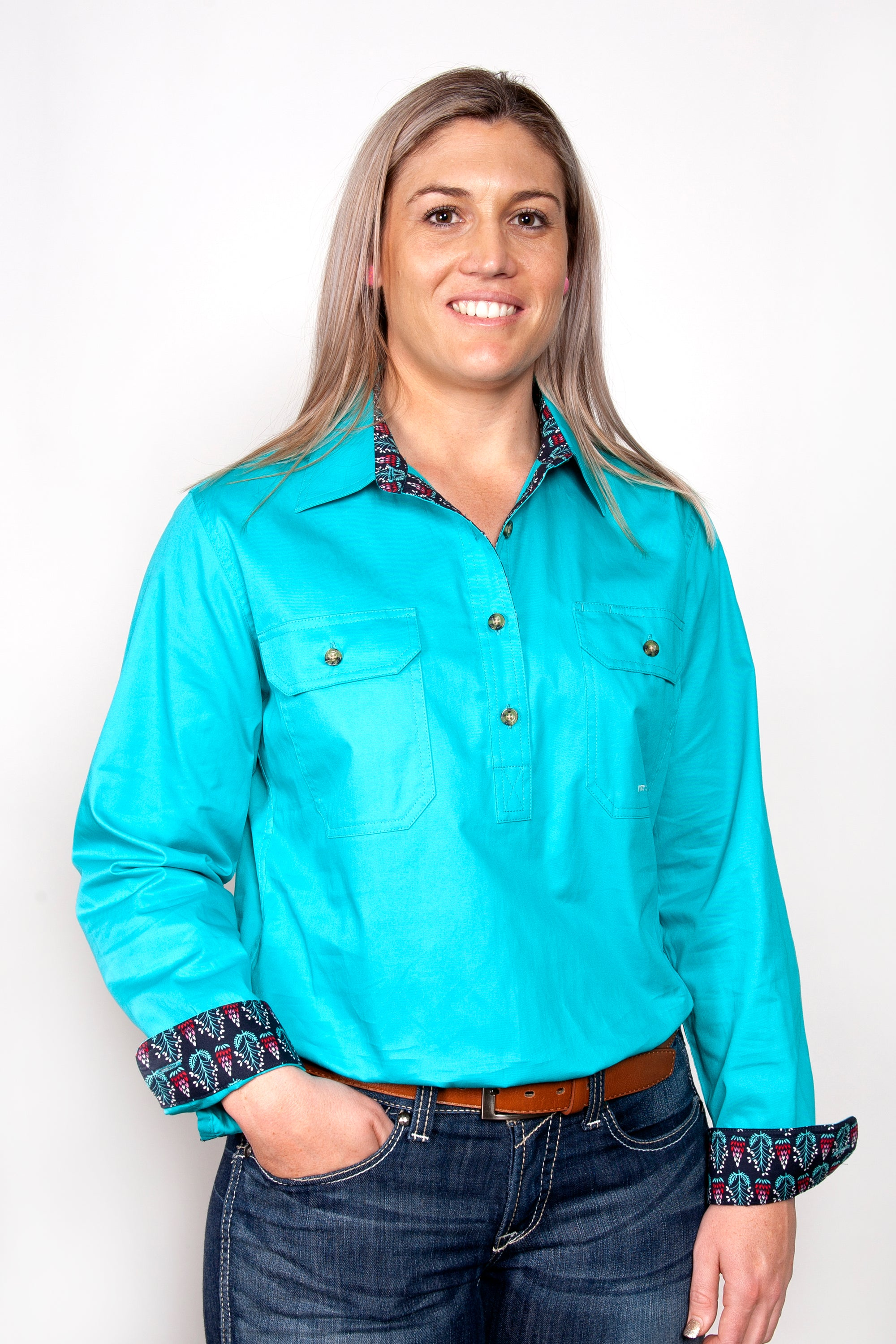 Just Country Womens Jahna Trim Half Button Workshirt