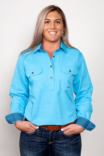 Just Country Ladies Trim Half Button Workshirt