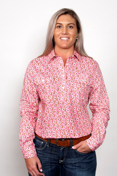 Just Country Ladies Georgie Half Button Shirt
