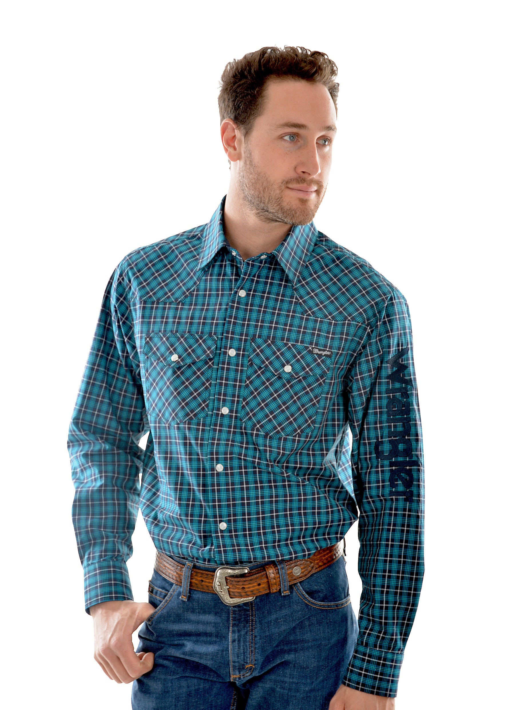 Wrangler Mens Falcon Check Long Sleeve Shirt