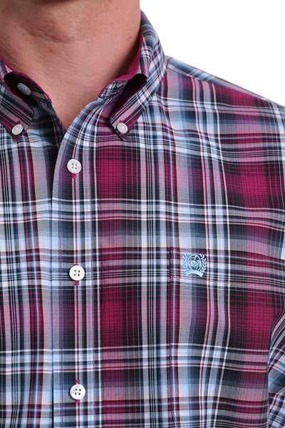 Cinch Mens Burgundy, White and Blue Plaid Shirt