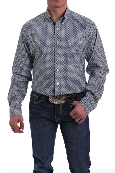 Cinch Mens Blue and Peach Floral Geometric Shirt