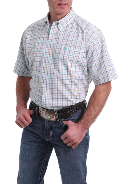 Cinch Mens Check Short Sleeve Shirt