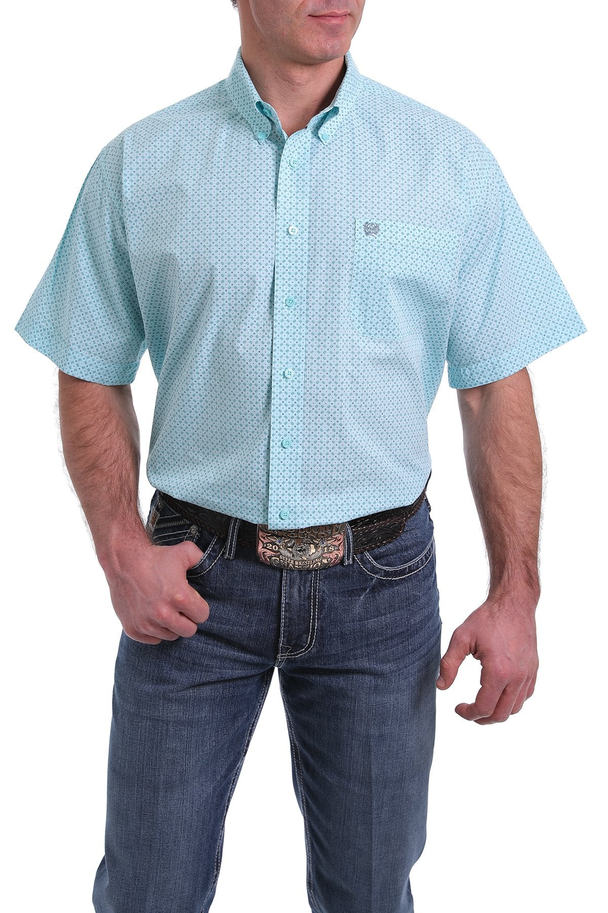 Cinch Mens Light Blue Short Sleeve Shirt