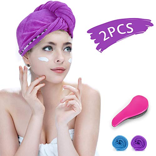 Amazon.com : Fast Drying Hair Towel Wrap with Rubber Bands & Comb Set, RIZON Microfiber Bath Shower Head Wrap Towel Turban Dry Hair Hat for Curly, Long and Thick Hair, 2 Packs : JAD US