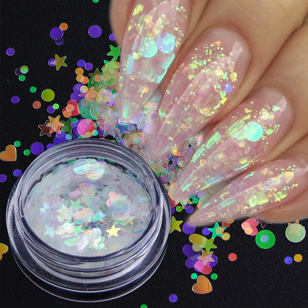 1 box Aurora AB Color Nail Sequins Paillette Mermaid Nail Flakes Glitter Manicure Star Heart Round Slider Nail Art Decor TRAB