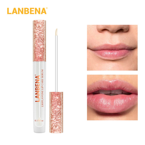 LANBENA Lsoflavone Lip Care Serum lips more plump lips enhance lip elasticity reduce wrinkles repair moisturizing Beauty
