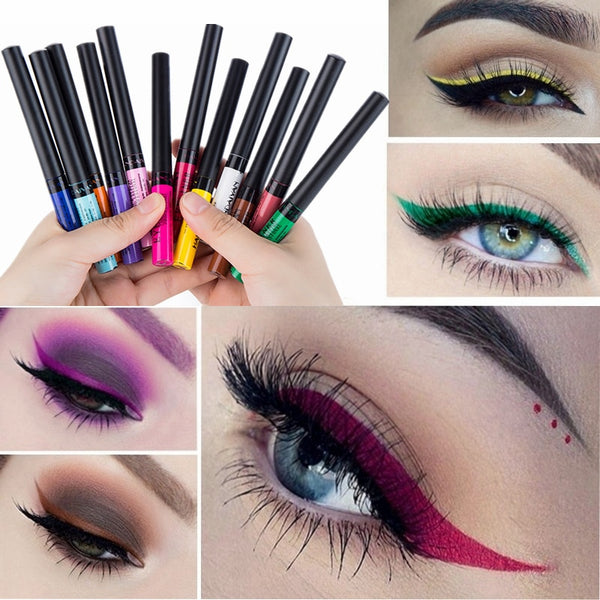 12 Color Eyeliner Liquid Waterproof Easy To Wear Make Up Matte Eye Liner Blue Red Green White Gold Brown Eyliner