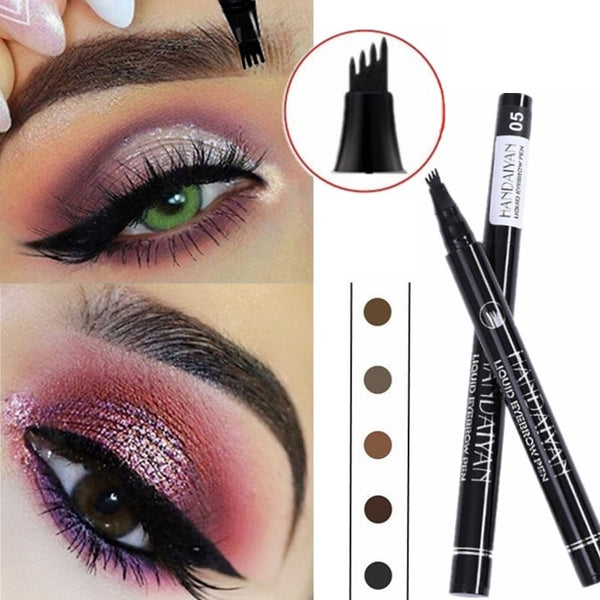 5 Color Microblading Eyebrow Pencil Waterproof Fork Tip Tattoo Pen Tinted Fine Sketch Eye Brow Pencils Long Lasting Eyebrows