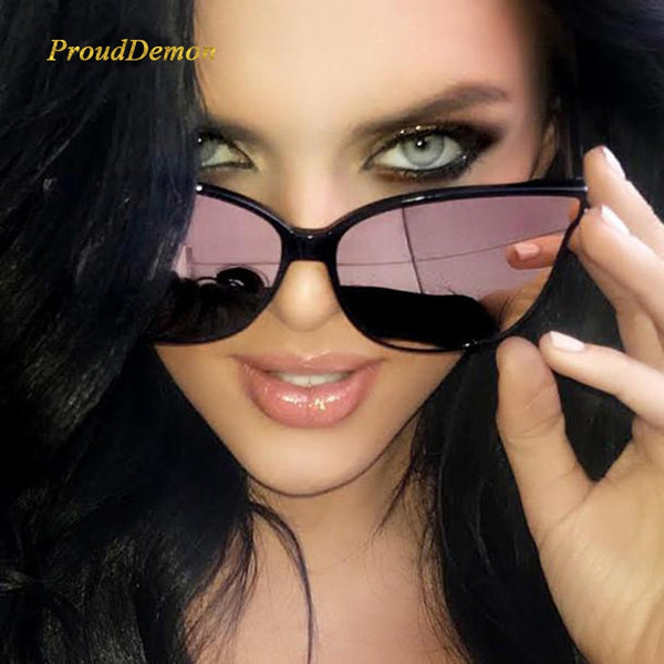 2019 Fashion Colour Luxury Flat Top Cat Eye Women Sunglasses Elegant oculos de sol men Twin Beam oversized Sun glasses  UV400