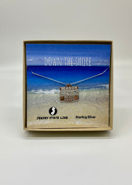 Jersey State Line Beach Badge Necklace
